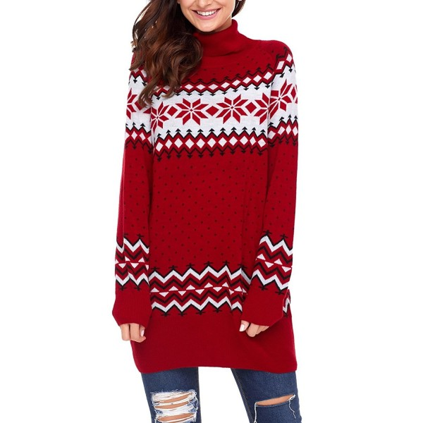 dearlovers snowflake turtleneck christmas sweater