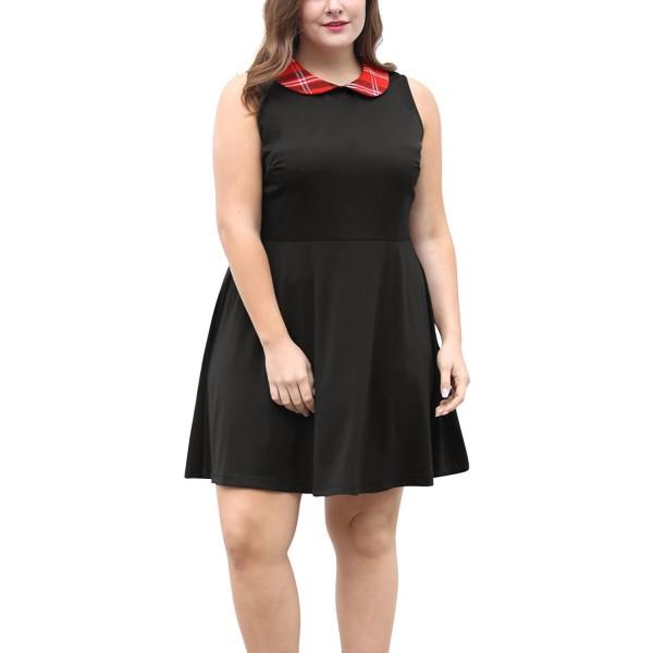 Agnes Orinda Women\'s Plus Size Plaid Peter Pan Collar Above Knee Skater  Dress - Black - CI12O6OP1C5