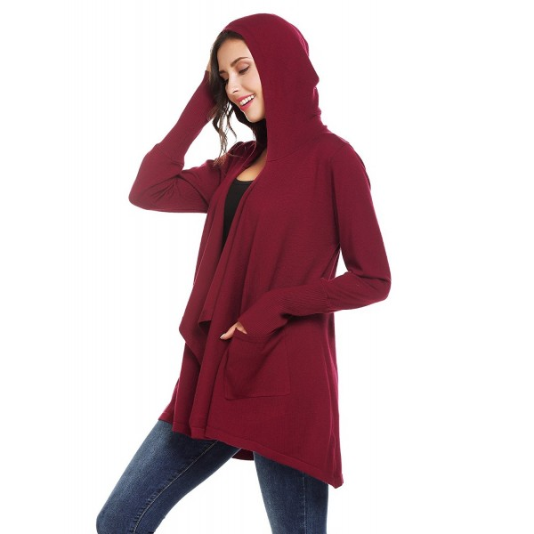 Womens Draped Open Front Long Sleeve Hooded Knit Sweater