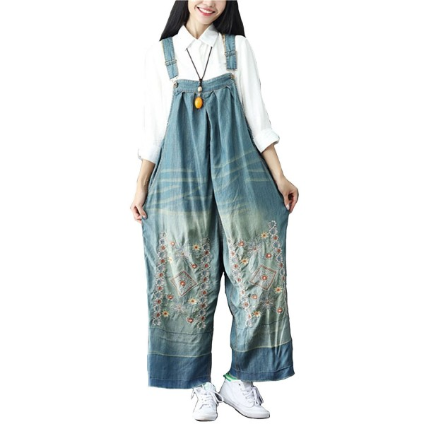 Aeneontrue Jumpsuits Embroidery Distressed Style1_Blue