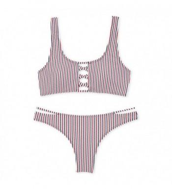 Stripe Bikini Ladder Strap Swimsuit