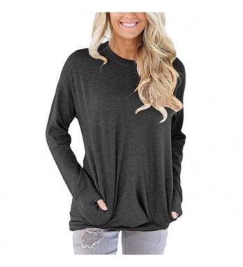 Womens Sleeve Pockets Pullover Sweatshirt