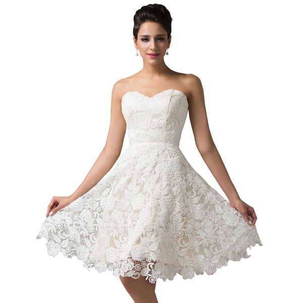 Women S Off White Lace Short Bridal Prom Gown Wedding Evening Dress