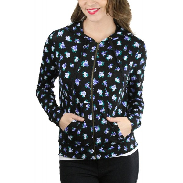 26e8cefe Women's Long Sleeve Floral Print Full Zip-Up Kangaroo Pocket Hoodie ...