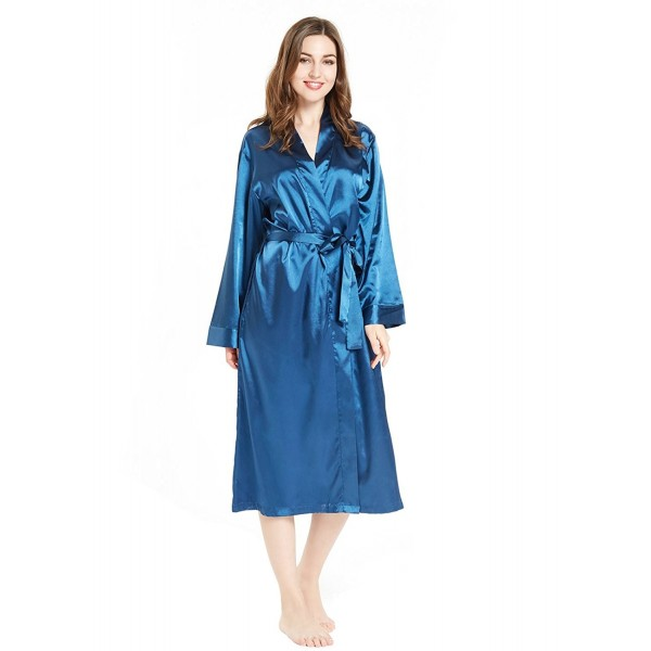 b70c00db8d Silky Satin Robe for Women- Long Bathrobe Full Length V-Neck ...