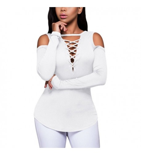 FARYSAYS Womens Shoulder Lace Up White 2