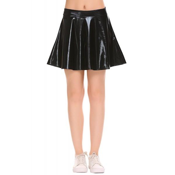 7b76da3470d Women s Shiny Liquid Metallic Wet Look Flared Pleated Skater Skirt ...
