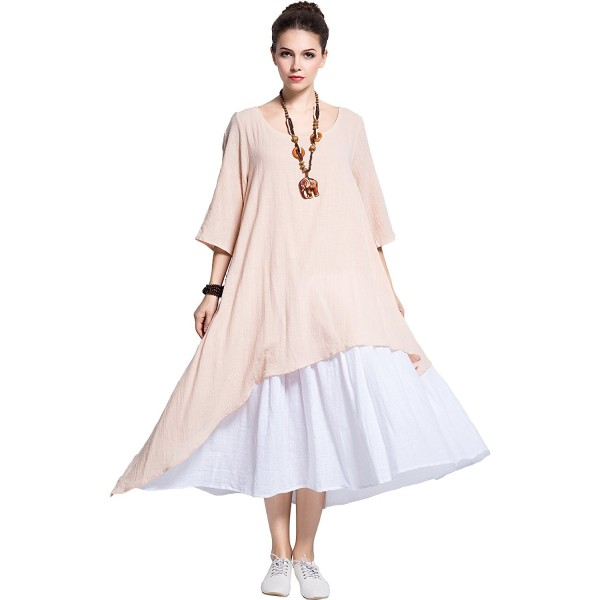 Fake Two Piece Linen Cotton Dress Spring Summer Plus Size Dress Y111 -  Peach - C817XWQTRDL
