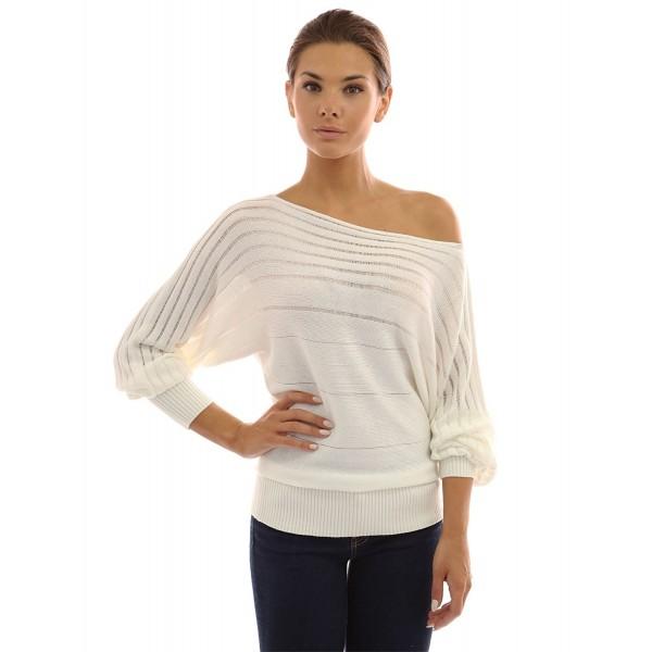 b775eea9fb Women s on   off one shoulder Semi-sheer Sweater - Ivory - CJ11LDJIMNB
