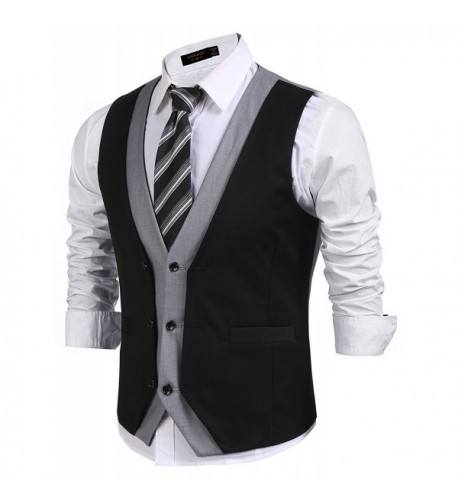 JINIDU Layered Patchwork Business Waistcoat