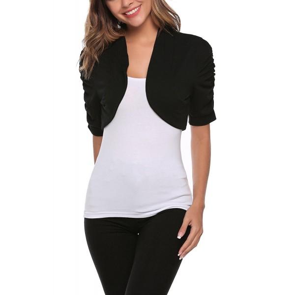 Womens Dark Grey Knit Bolero Short Sleeve Crop Cardi Shrug Top Ladies