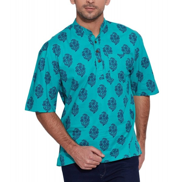 ShalinIndia Cotton Printed Mandarin Turquoise