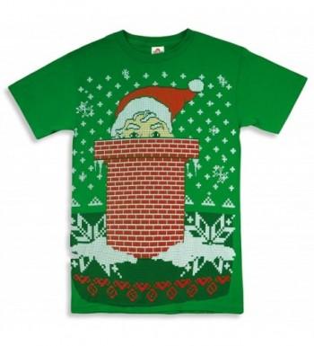 Santa PEAKING Chimney Sweater T Shirt