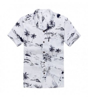 Mens Hawaiian Shirt Aloha White