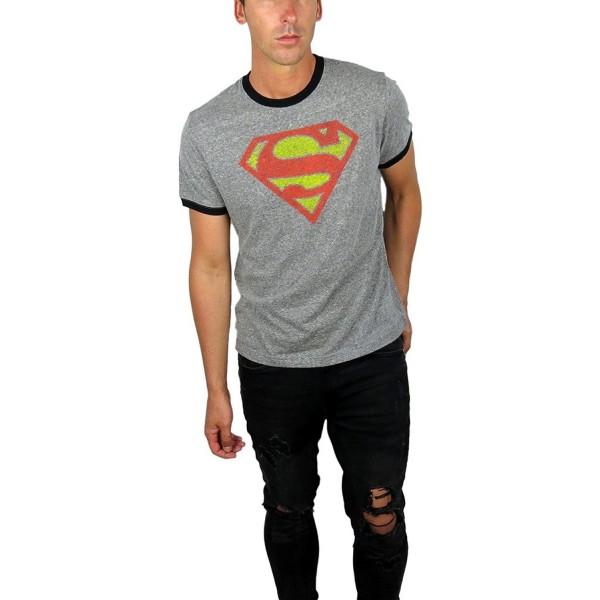 Comics Superman Ringer Charcoal Small