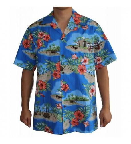 Mens Canoe Hawaiian Shirt Royal