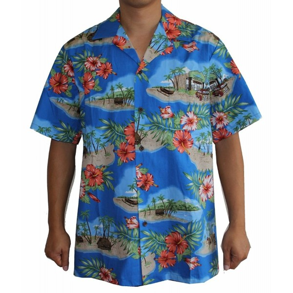 Mens Canoe Hawaiian Shirt Royal