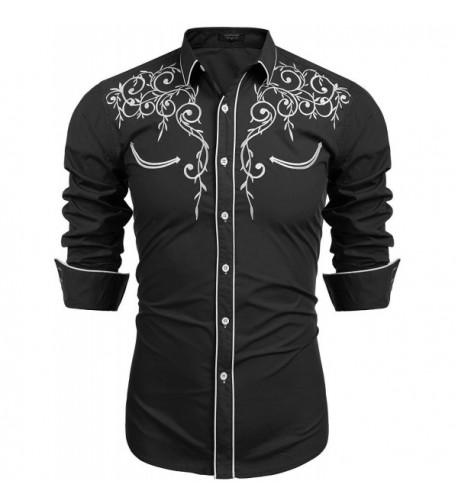 COOFANDY Sleeve Embroidery Casual Button