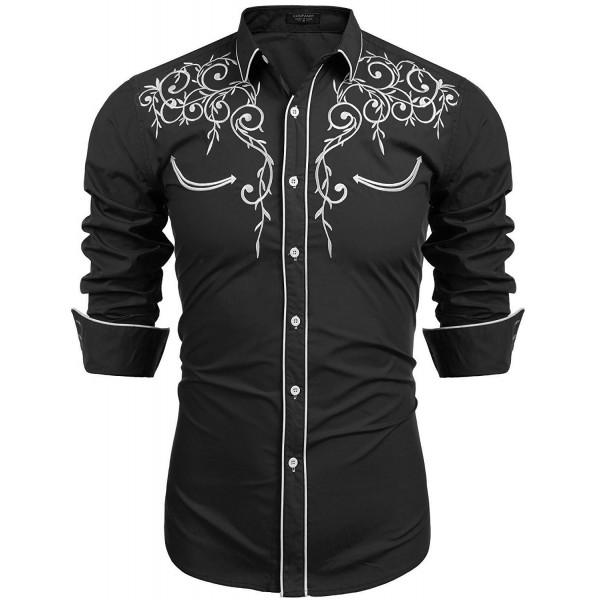3c19f4a0b ... Men's Long Sleeve Shirt Embroidery Slim Fit Casual Button Down Shirt -  01-black - CZ183RWYUC9. COOFANDY Sleeve Embroidery Casual Button