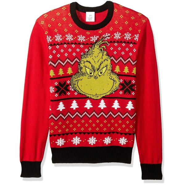 Dr. Seuss Men's Grinch Face Ugly Christmas Sweater Red