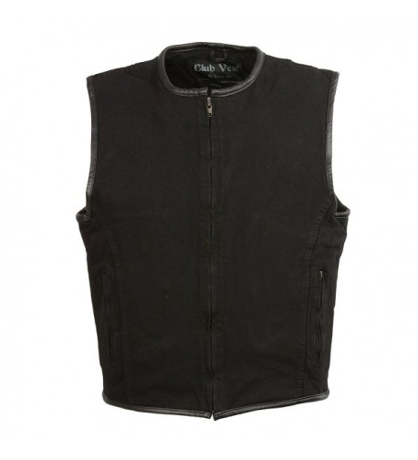 CLUBVEST Mens Zipper Vest Leather Trim BLACK 2X