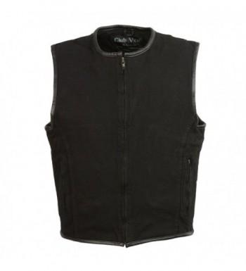 CLUBVEST Mens Zipper Vest Leather Trim BLACK 2X