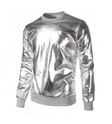 JOGAL Metallic Shirts Nightclub Hoodies