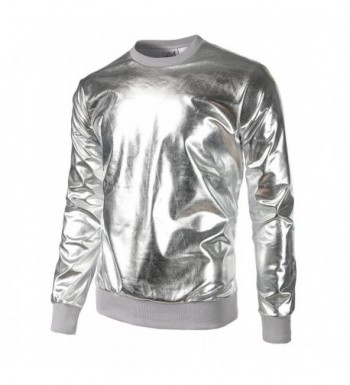 JOGAL Metallic Shirts Nightclub Hoodies