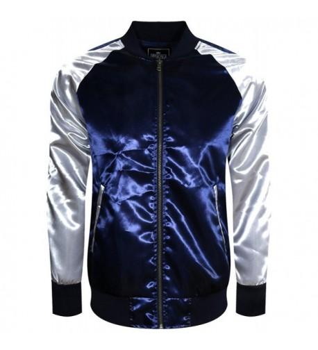 UPSCALE Satin Souvenir Jacket NAVYSILVER
