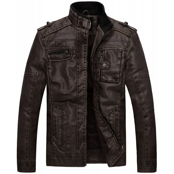 Wantdo Vintage Collar Leather Jacket