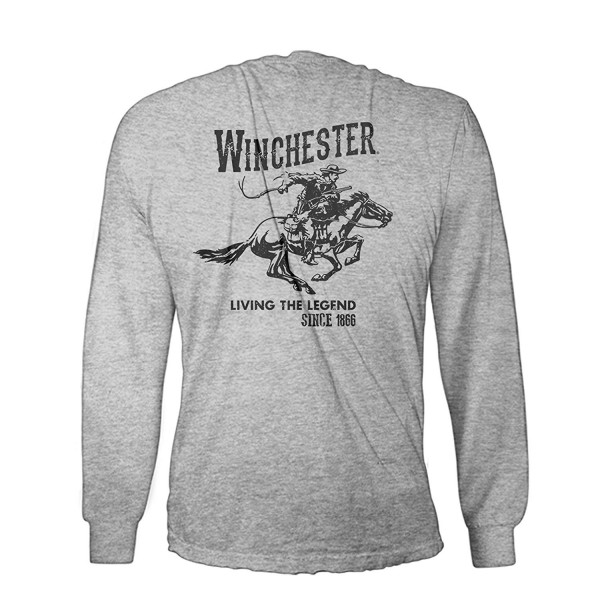 86eab7206c3 ... Official Men s Cotton Vintage Rider Graphic Printed Long Sleeve T-Shirt  - Sport Grey - CA12O9T742N. Official Winchester Vintage Graphic Printed