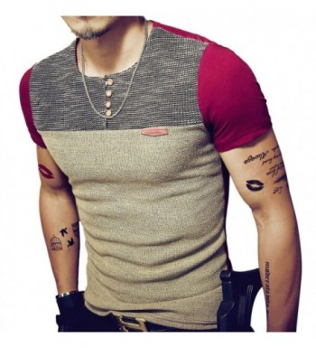 8sanlione Casual Short Sleeve Contrast T Shirt