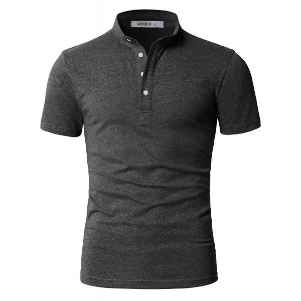 IDARBI Casual Mandarin T Shirt Charcoal
