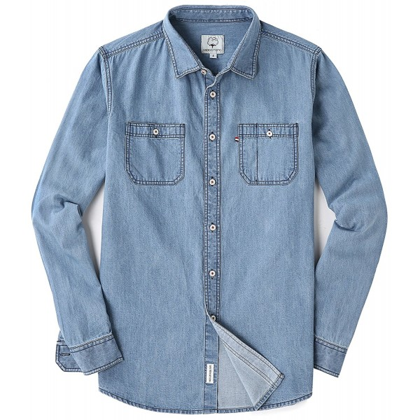 Mocotono Sleeve Denim Double Pocket Shirt