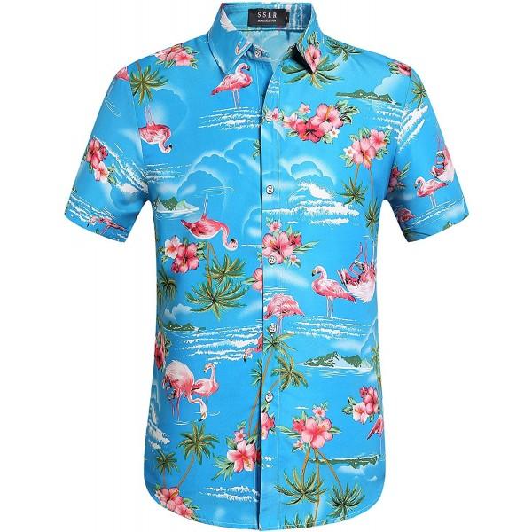 2a7d6cd9a ... Casual Button-Down Shirts · Men's Flowers Flamingos Casual Aloha  Hawaiian Shirt - Blue - C7182Y6XMXW. SSLR Flowers Flamingos Casual Hawaiian