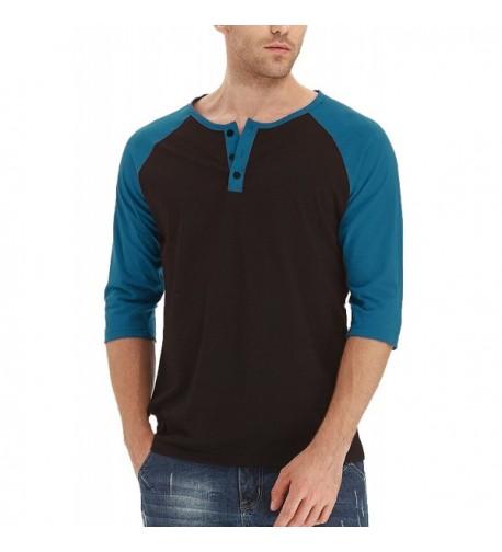 Aiyino Raglan Sleeve Henley Shirts