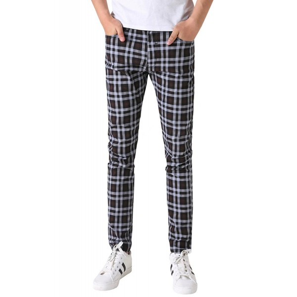 HENGAO Plaids Stretch Casual Jeans