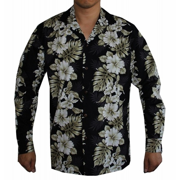 1655f868 Men's Long Sleeve Floral Panel Hawaiian Aloha Shirt - Black ...