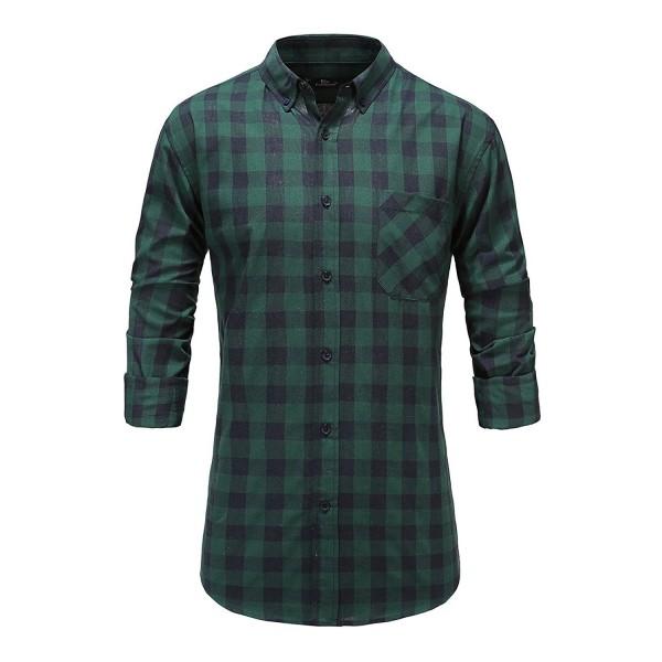 Emiqude Cotton Sleeve Plaid Button