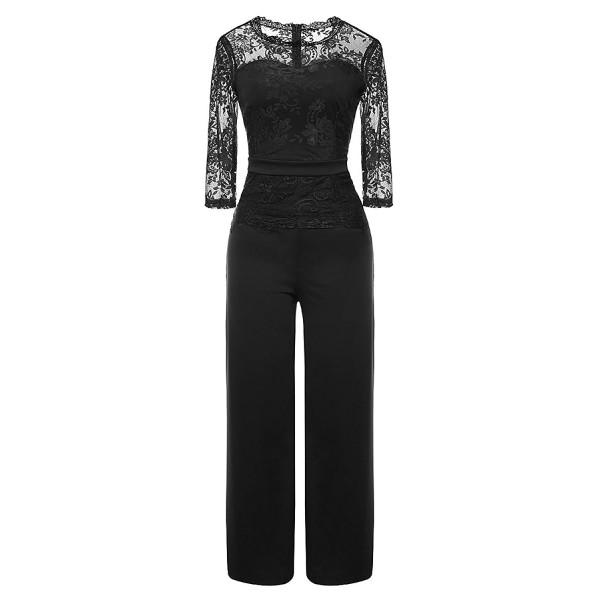 d51c3415434d Women's Elegant Lace Top Jumpsuits High Waist Wide Leg Long Romper ...