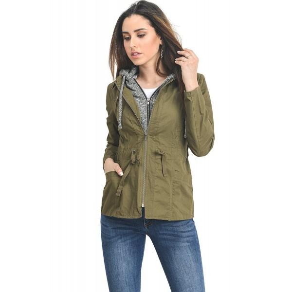 ac49dda49ba InstarMode Women s Zip Up Military Anorak Safari Jacket With Terry ...