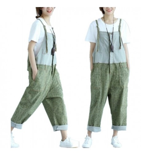 YESNO Cropped Overalls Jumpsuits Contrast