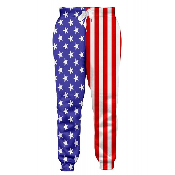 7992c6fca4aef0 ... Men/Women 3D Joggers Pants Trousers Sport Track Sweatpants Baggy - Usa  Flag - C6189LOY4LU. Leapparel American Workout Clothes Sweatpants