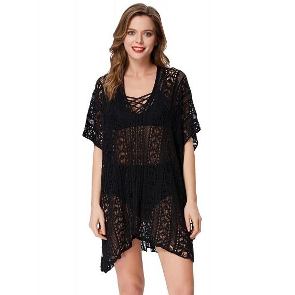 e195a64b0b ... Women Crochet Bikini Cover Up Swimwear Swimsuit Lace Up Beach Dress -  Black - CD18026I3YI. GRACE KARIN Crochet Beachwear Swimsuit