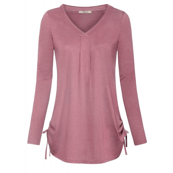 Bebonnie Womens Long Sleeve Neck Casual Tunic Top Ladies Pleated Drawstring Flattering Blouse