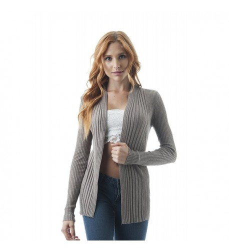 Ribbed Sleeve Cardigan Sweater Heather