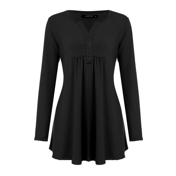 888e65c4b42 Women s Vintage V-Neck Pleated Tunic Shirt With Long Sleeve - Black ...