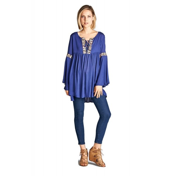 71da8fc43754e Lace Up Embroidered Bell Sleeve Tunic Dress reg & Plus Size - Blue ...
