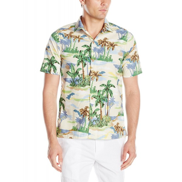 8fc8840ab Men s Slim Fit Short Sleeve Scenic Palm Printed Cool Cotton Collared ...