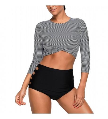 Sleeve Striped Tankini Swimsuit Swimwear